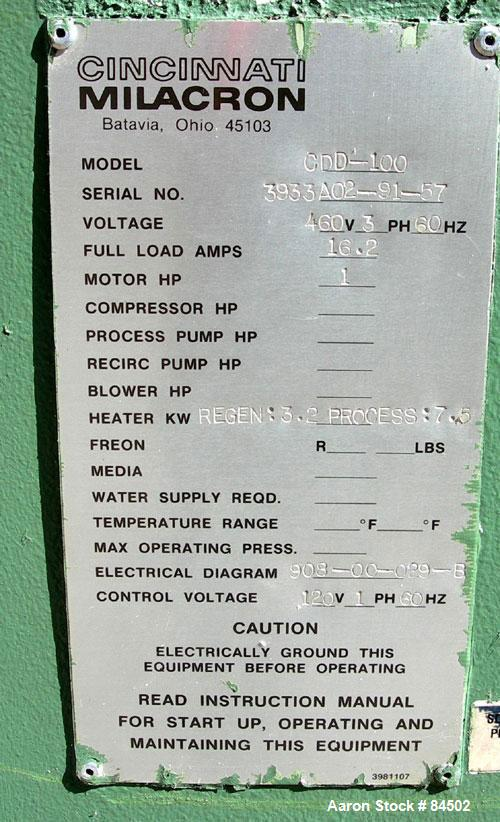 used cincinnati milacron dryer model cdd 100 t used cincinnati milacron dryer model cdd 100