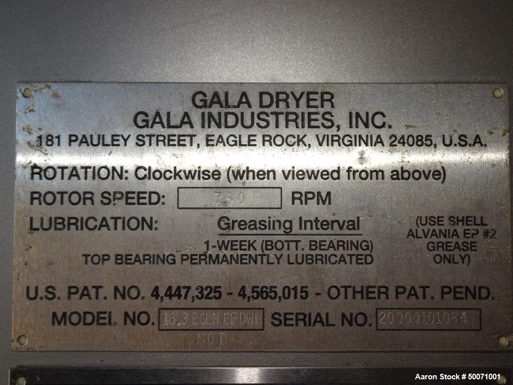 Unused- Gala Spin Dryer, Model 16.3 ECLN  BFDWH, Stainless Steel