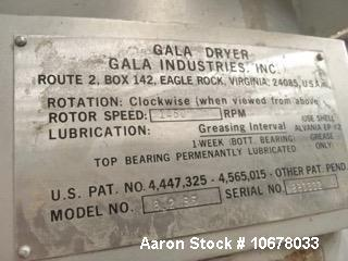 Used- Gala Spin Dryer, Model 8.2 BF, 20 GPM. Stainless steel.