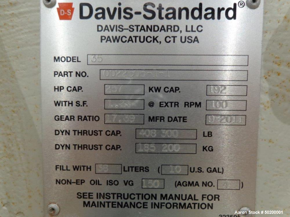 Used- Davis Standard Single Screw Extruder