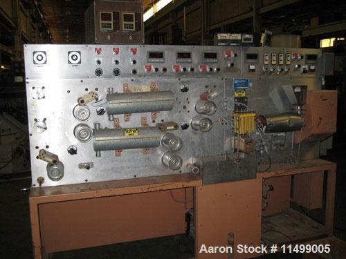 """Used-Killian laboratory filament/ribbon system. 3/4"""" extruder with a 20:1 L/D ratio barrel, 3 heat zones, water cooled feed ..."""