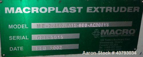 """Used- Macroplast Extrusion Tecnology 3"""" extruder, model ME-2-45026A1S-080-AC200V5"""