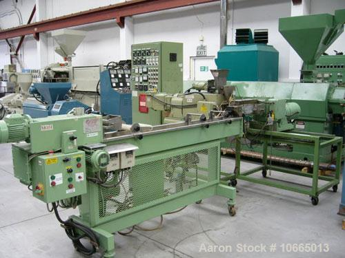 Used- Baker Perkins Guittard 30mm (1.2''), 10:1 L/D cross head extruder, model MPC/V 30, co-rotating with 3 kW (4 hp) DC mot...