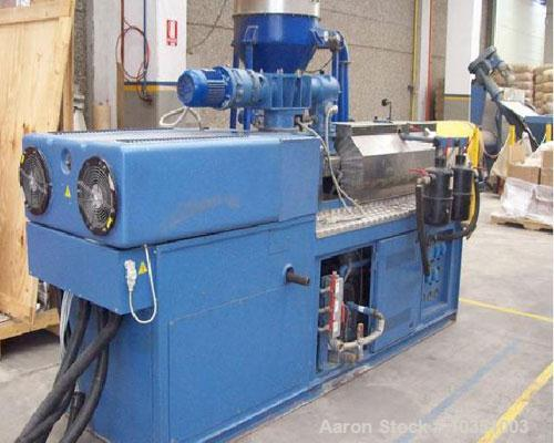 "Used-Bausano MD 52/53 Twin Screw Extruder. Screw diameter 2.04"" (52mm). Maximum throughput 65 kg/hour. Main motor 49 hp, 36...."