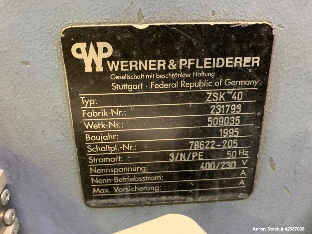 Used- Coperion-Werner & Pfleiderer, Twin Screw Extruder, Type ZSK 40