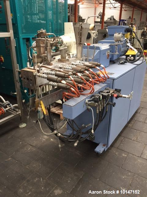Used- Krupp Werner & Pfleiderer, Type ZSK 25 WLE. 25 mm diameter screws. 28:1 L/D. Electrically heated, water cooled barrel ...