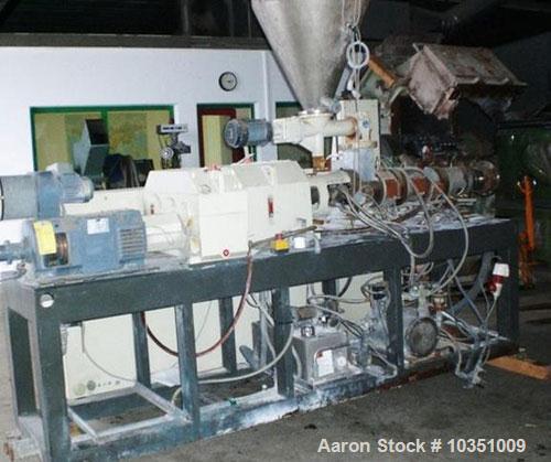 Used-Cincinnati Milacron CMT 45 Counter- Rotating Twin Screw Extruder. Maximum capacity 265 lbs (120 kg/hour). Screw diamete...