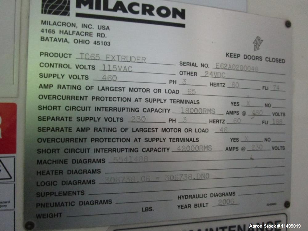 Used- Milacron 65mm Twin Screw Extruder, Model TC65