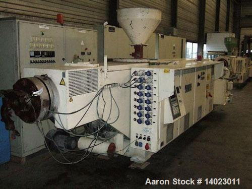 """Used-Weber DS 12 P Counter-Rotating Twin Screw Extruder.  Screw diameter 4.7"""" (120 mm).  L/D ratio 19.  Motor 100 hp (75 kW)..."""