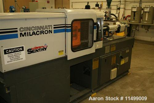 "Used-55 Ton Cincinnati Milacron Model VST55, 2.27 oz, 1992. Clamp style toggle, shot size 2.27 oz, tie bar space 12.8"" x 12...."