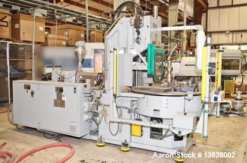 """Used- 80 Ton Newbury 4 Station Rotary Mold Machine, Model: 80VTCR5. Manufactured: 2000. Shot size: 5 ounce, platen size: 14""""..."""