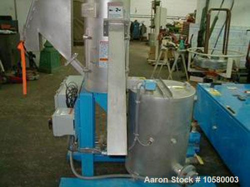 Used-Gala model 5 underwater micro mini underwater pelletizer. 20 gpm water system, 8.1 centrifugal dryer having a 3 hp moto...