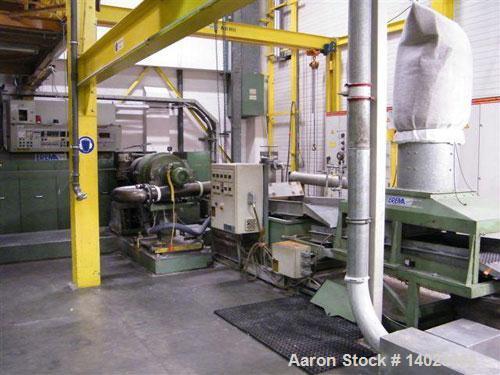 "Used-Erema Plastic Recycling Line. Screw size 6.3"" (160 mm), L/D 16, 213 hp/160 kW motor, 65 kw heating, 146.7 hp/110 kW cut..."