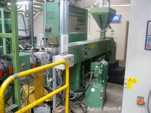 Unused-890 mm wide Welex Coextrusion sheet line. 90 mm main extruder, 50 mm coextruder, 890 x 300 mm rolls, pump group, haul...