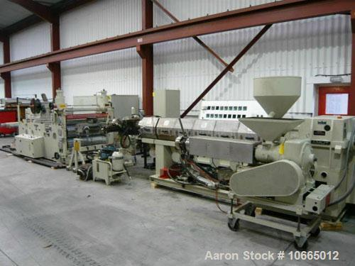 Used-1200mm (3.9') Amut Sheet Line; 90mm (3.5'') 32:1 l/d single screw extruder, 117 kW (156 hp) motor, electrically heated,...
