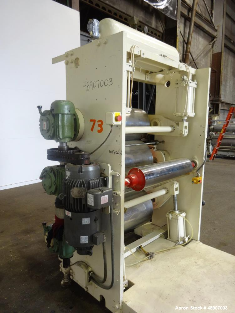 Used- OMV 3 Roll Sheet Stack. Top cored chrome ro