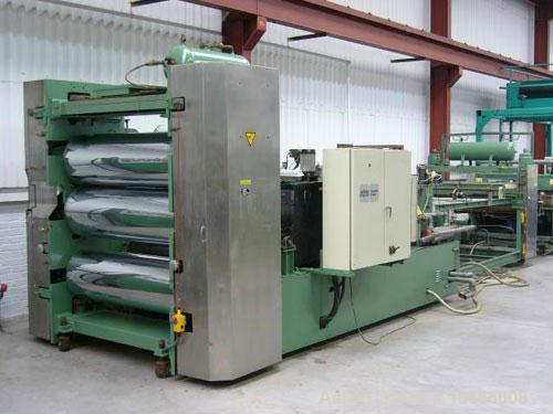 Used-1350mm wide Welex coextrusion sheet extrusion line. 90mm + 50mm extruders, flex lip die, 1350mm x 450mm 3 roll stack, d...