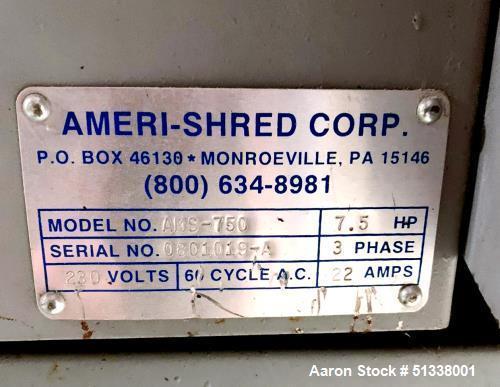Used- Ameri-Shred Corp. AMS-750 Strip Cut Conveyor-Fed Industrial Paper Shredder