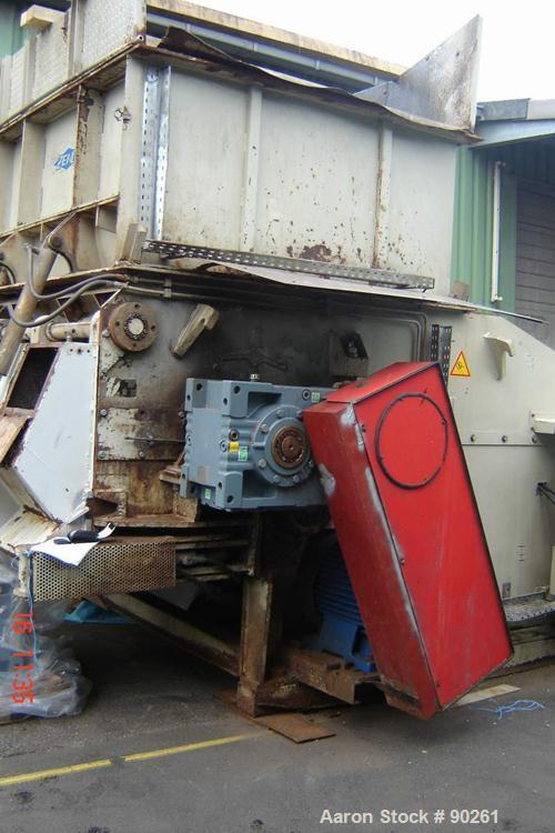 Used- Carbon Steel Zeno Single Roll Shredder, Type ZTLL 2000 x 1900