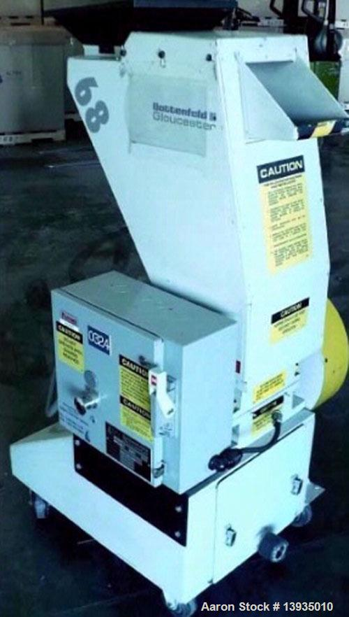 """Used-2000 Battenfeld Gloucester Model 68-BP-5. Throat opening size 8"""" x 6"""", 2 rotor knives, 1 bed knife, 5 hp, rides on cast..."""