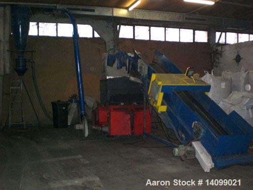 Used-Weima WLKM 12-45 Cutting Mill for secondary crushing of pre-shredded plastics. Comprised of (1) graunulator; (1) hydrau...