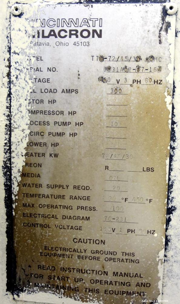 used cincinnati milacron hot oil heater model t used cincinnati milacron hot oil heater model tt0 72 45 30