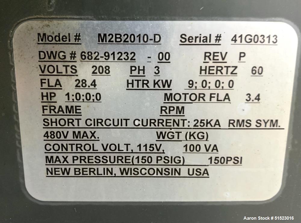Used-Sterlco Portable Water Temperature Control Unit, Model M2B2010-D.  1 HP Pump, 35 GPM, 150 PSI Max Working Pressure, 9 k...