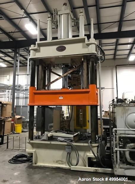Used- Lawton 4 Post Hydraulic Compression Molding Press, 400 Ton.