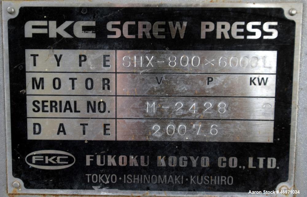 Used- FKC Screw Press, Model SHX-800X6000L