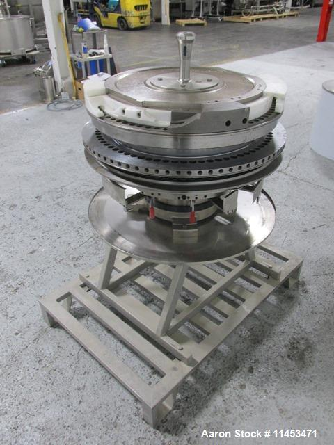 Used-Used 73 station Fette tablet press turret for 3090i press, keyed upper punch guides on cart.