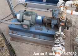 Used- Gorman Rupp Gear Pump, Model GHS112GF3-B, Carbon Steel. Driven by an XP motor. Serial# 1330280.