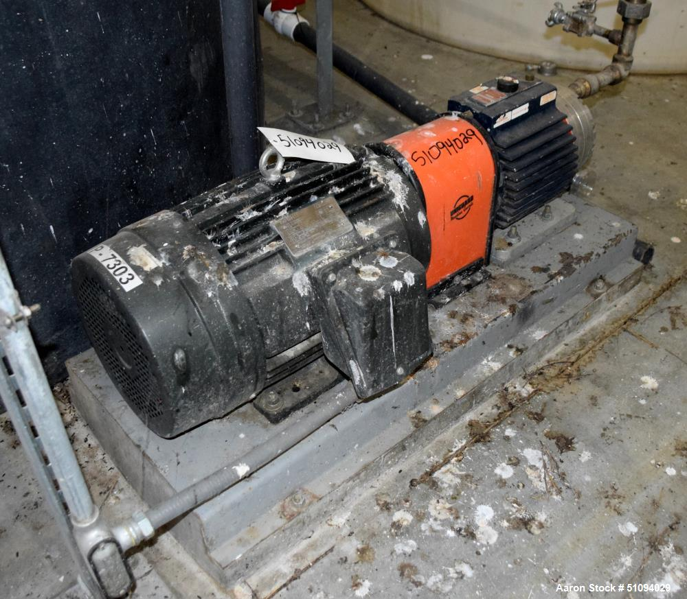 Used- Hydra-Cell Diaphragm Pump, Model D15XASTNNECB, 316L Stainless Steel. Maximum flow 13.8 gallons per minute at 1450 rpm....