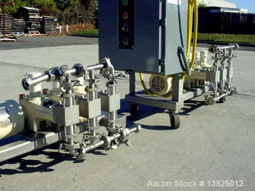 "Used-Bran & Lubbe 3 head metering/proportioning pump, type VE-P33. Driven by a 1 hp, 3/60/208-230-460 volt ""wash down"" motor..."