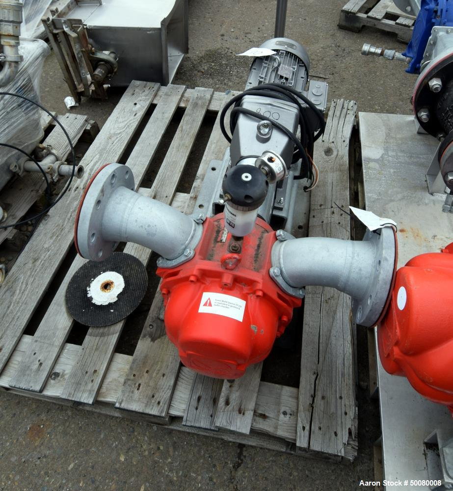 Used- Vogelsang IQ112 Universal Rotary Lobe Pump, Carbon Steel. Approximate 340 gallons per minute. Driven by a 5hp, 3/60/23...