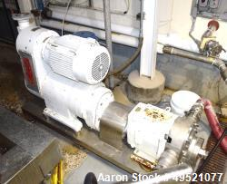 Used- Waukesha Positive Displacement Pump, Model 220, Stainless Steel. Approximate capacity 313 gallons per minute, 0.521 ga...