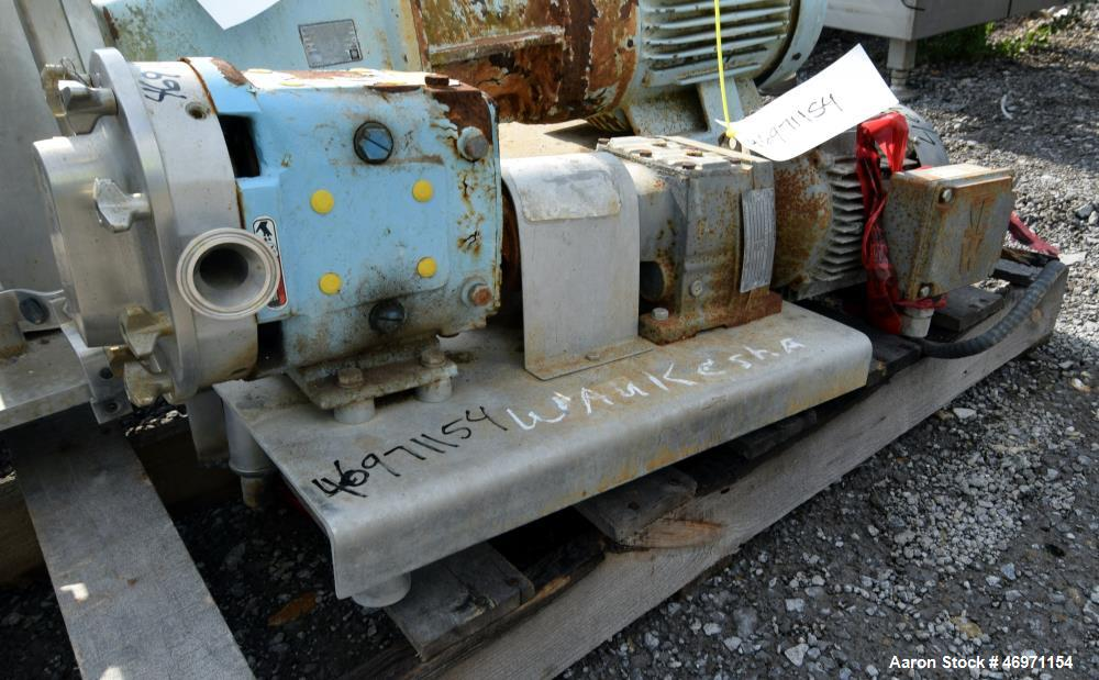 Used- Waukesha Positive Displacement Pump, Model 015, 316 Stainless Steel. Approximate displacement 0.142 gallons per revolu...