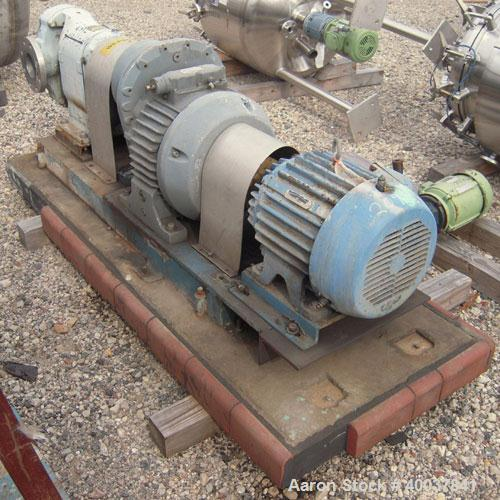 Used- Waukesha Rotary Positive Displacement Pump, model 200,316 stainless steel. Approximate capacity260 gallons per minut...