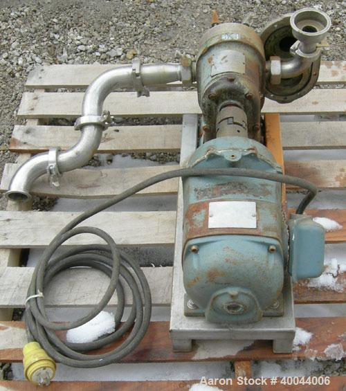 "Used- Waukesha Rotary Positive Displacement Pump, Model 25, 316 Stainless Steel.1 1/2"" sanitary inlet/outlet.Rated displacem..."