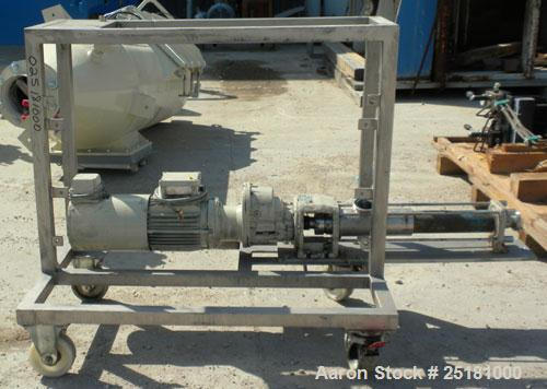 """Used- Hansa Processing Cavity Pump,316 Stainless Steel. (.75) Liter per minute. 3"""" threaded inlet, 2-1/2'' threaded outlet...."""