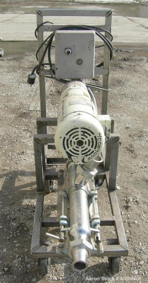 Used:  Moyno Sanitary Pump, Type SSQ, 316 Stainless Steel.  Rated 5 gallons per minute per 100 rpm.   Driven by a 1.5 hp, 17...