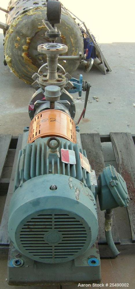 "Used- Goulds Centrifugal Pump, Model 3296, S Group, Size 1.5x3-8, 316 stainless steel. 3"" inlet, 1 1/2"" outlet, approximatel..."