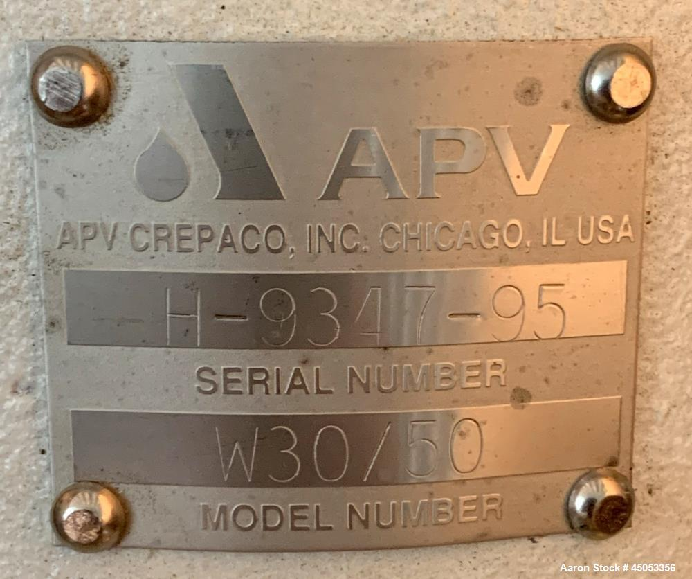 Unused- APV Model W 30/50 Centrifugal Pump, Stainless Steel. Approximate 280 gallons per minute, 130 head feet @ 3500 rpm. A...