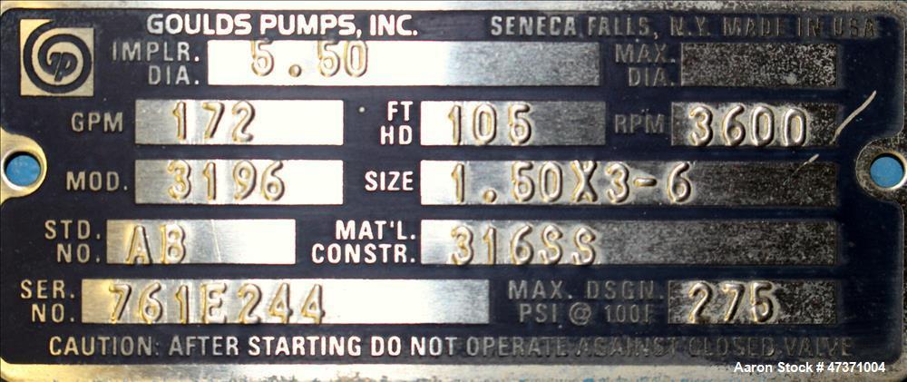 Used- Gould STX Centrifugal Pump, Model 3196, Siz