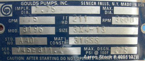 Used- Goulds Centrifugal Pump, Model 3196 LTX, si