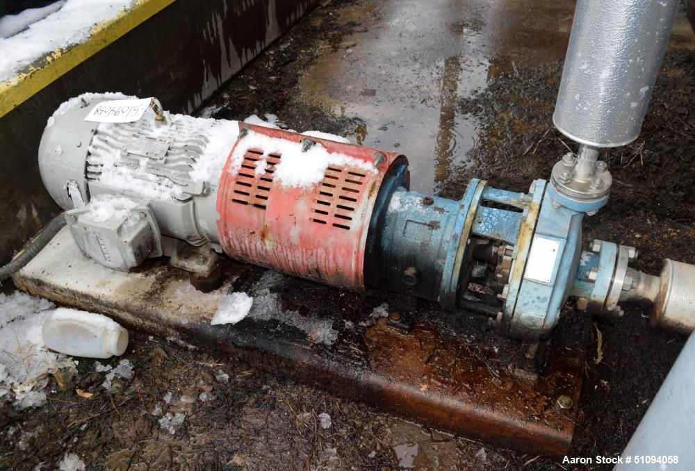 Used- Goulds Centrifugal Pump, Model MTX, Size 1X2X10, 316 Stainless Steel. Driven by a 15hp, 3/60/208-230/460 volt, 3530 rp...
