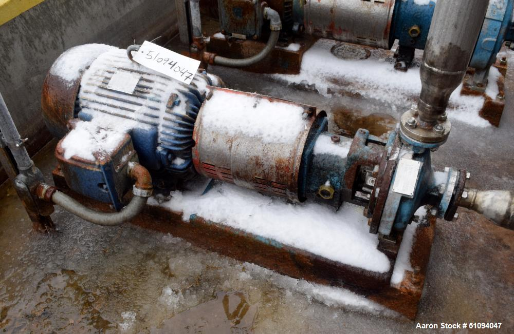 Used- Goulds Centrifugal Pump, Model STX, Size 1X1.5X8, 316 Stainless Steel. Driven by a 15hp, 3/60/230/460 volt, 3530 rpm m...