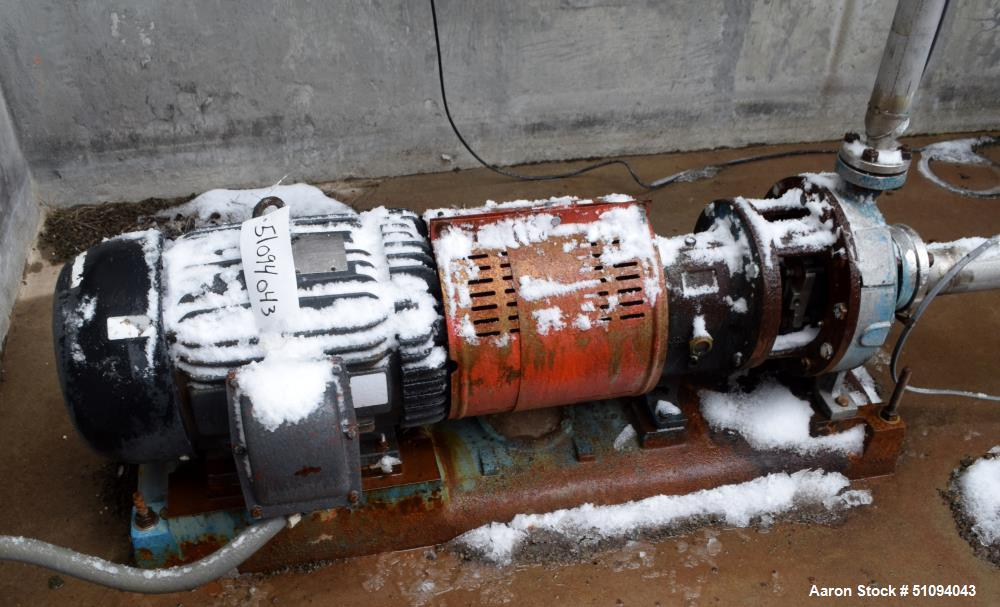 """Used- Goulds Centrifugal Pump, Stainless Steel. Approximate 2"""" inlet, 1"""" outlet. Driven by a 15hp, 3/60/230/460 volt, 3520 r..."""