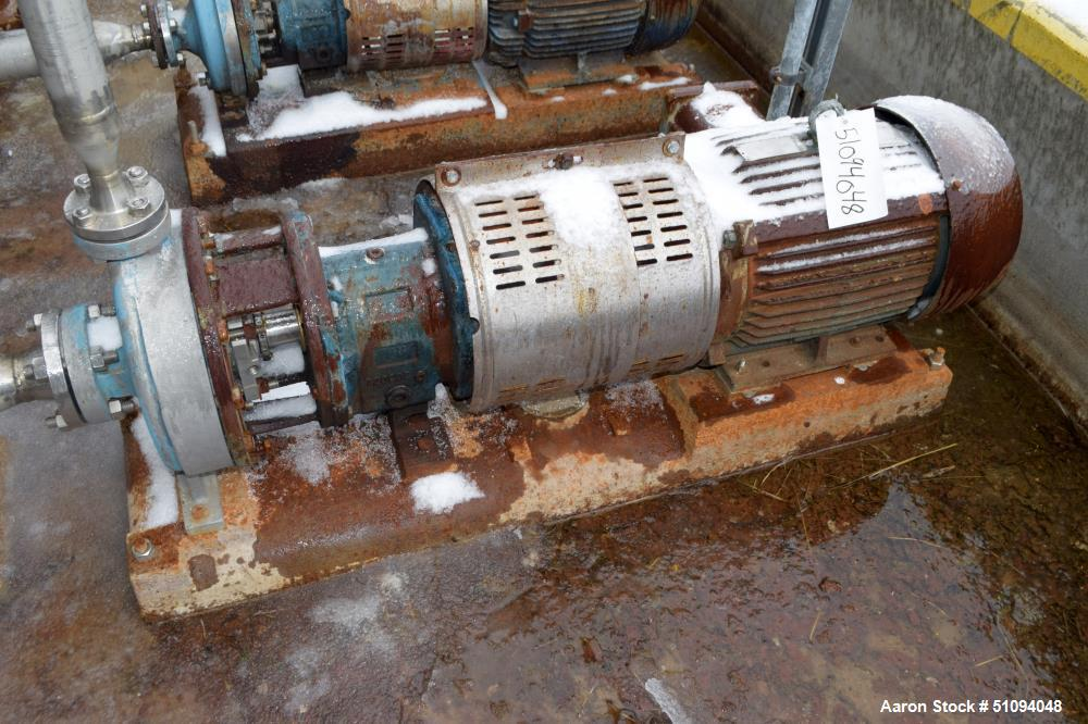 """Used- Goulds Centrifugal Pump, Stainless Steel. Approximate 2"""" inlet, 1"""" outlet. Driven by a 15hp, 3/60/230/460 volt, 3530 r..."""
