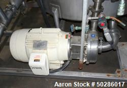 Used- Alfa Laval Model LKH-25 Centrifugal Pump, Stainless Steel. Approximately 25 gallons per minute. Driven by a 15 hp, 3/6...
