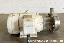 Used- Alfa Laval Model LKH-25 Centrifugal Pump, Stainless Steel. Approximate 25 gallons per minute. Driven by a 15 hp, 3/60/...